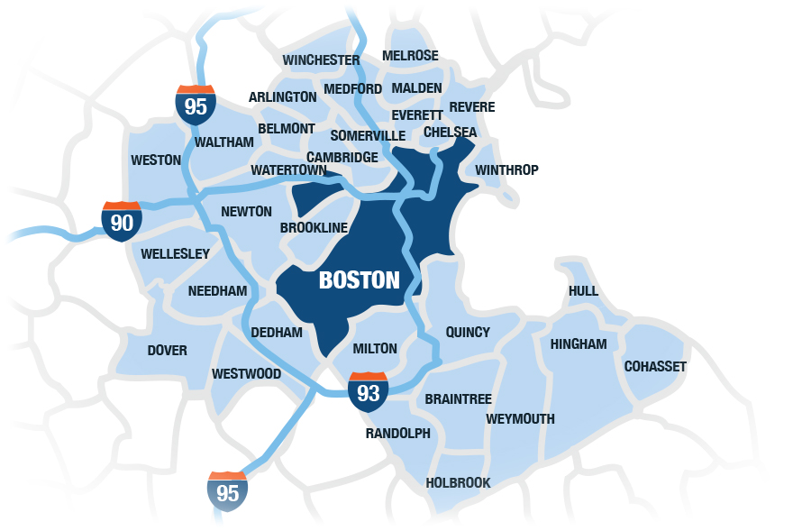 Greater Boston Map Map Of Greater Boston | compressportnederland Greater Boston Map